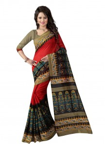 Beautiful Multi Color Bhagalpuri Silk Printed Saree