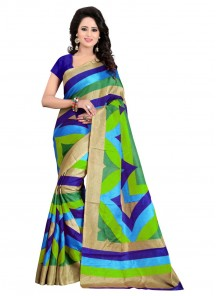 Beautiful Multi Color Printed Bhagalpuri Silk Saree