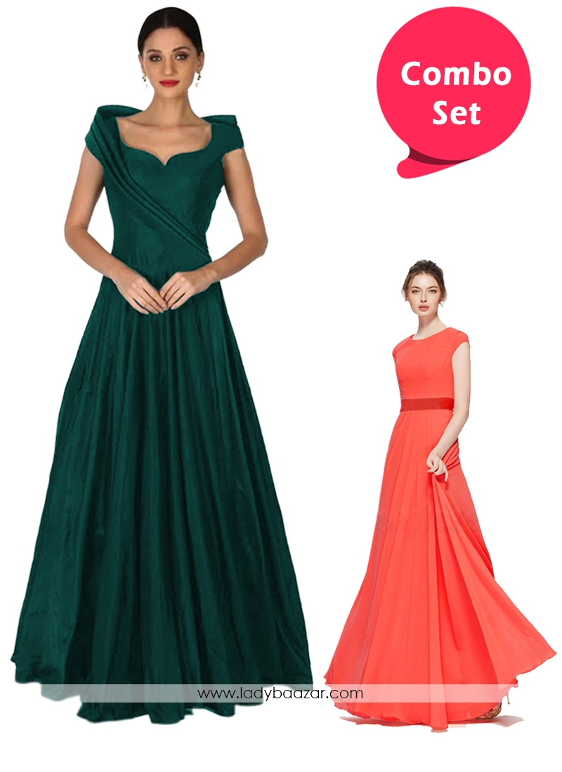 Beautiful Partywear Gorgette & Pleated Tapeta Silk Readymade Gowns - Pack of 2