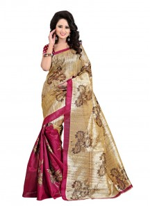 Beautiful Printed Cream With Pink Bhagalpuri SIlk Saree