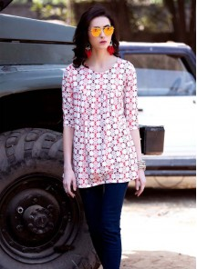Beautiful Red With White Cotton Lycra  Printed Western Wear
