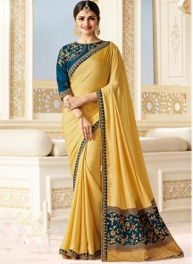 Beautiful Silk Embroidery Work Mustard  Saree