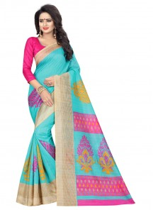 Beautiful Turquoise Bhagalpuri Silk Printed Saree