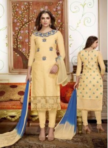 Beautiful Yellow Cotton Embroidery Dress