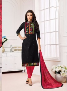 Beckoning Black Cotton Printed Straight Suit