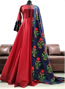 Beckoning Hot Red Designer Tapeta Bell Sleeve Gown