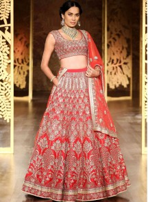 Beckoning Satin Embroidered Work Lehenga Choli