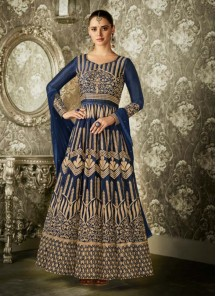Bedazzling Embroidered Work Mulberry Silk Blue Floor Length Anarkali Suit