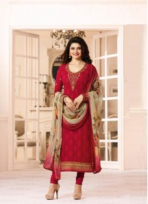 Bedazzling Red Georgette Embroidery N Printed Churidar Suit
