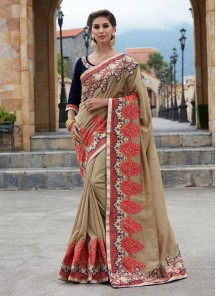 Beige Satin Silk Embroidery Saree