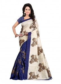 Beige With Blue Digital Printed Bhagalpuri Silk Saree