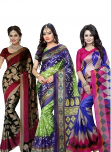 Bhagalpuri Silk Printed Casual Saree Pack Of 3 Combo