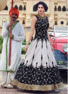 Black And White Banglori  Silk Pure Hand Work Stitched Anarkali Suit