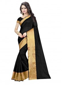 Black Color Cotton Silk Casual Printed Saree