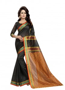 Black Color Cotton Silk Printed Saree
