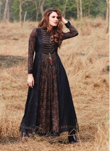 Black Printed Rayon Occasion Wear Gown Style Weste