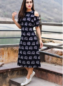 Black Khadi Cold Shoulder Long Designer Printed Kurti