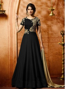 Blooming Embroidered With Stone Work Black Anarkali Salwar Kameez