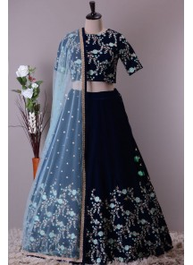 Blooming Mulberry Embroidered Work Lehenga Choli