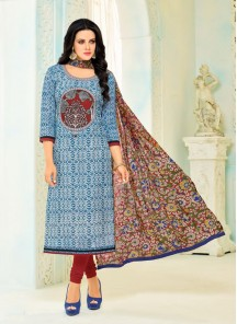 Blooming Multi Color Chanderi Printed Salwar Kameez