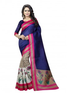 Blue Bhagalpuri Silk Printed Saree
