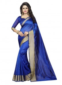 Blue Color Cotton Silk Casual Printed Saree
