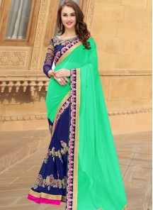 Blue Georgette Lace Work Embroidery Half and Half Style Saree