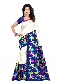 Blue N Off White Bhagalpuri Silk Printed Saree