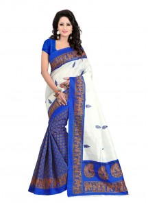 Blue N Off White Bhgalpuri Silk Casual Saree