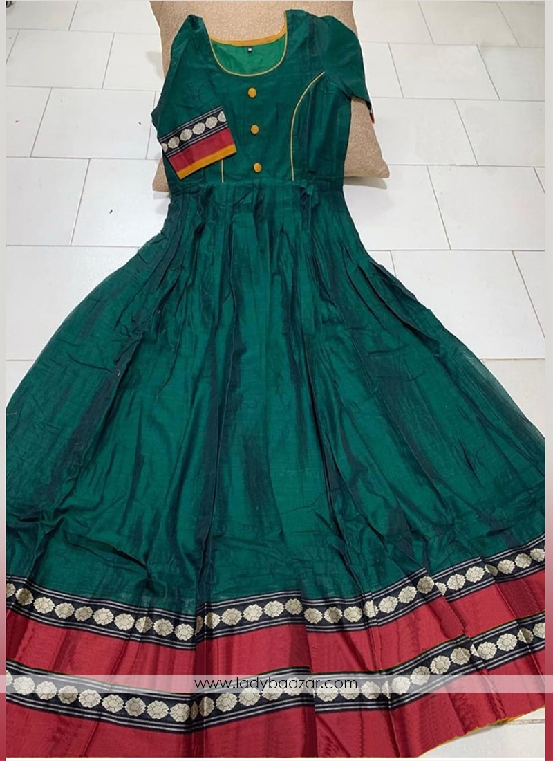Bottle Green Colored Partywear Printed Less Satin Silk Trendy Gown