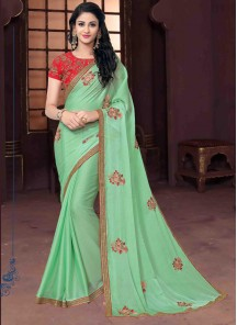 Breathtaking Chiffon Sea Green Embroidery Work Designer Saree
