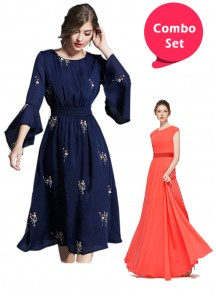 Breathtaking Gorgette Gown &  Navy Blue Georgette Embroidery Ethnic Tunic - Pack of 2