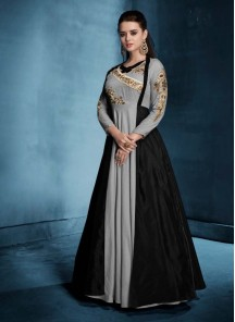 Breathtaking Morvi Silk Black And Grey Embroidered Floor Length Anarkali Suit
