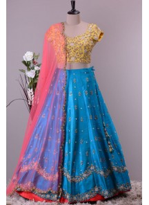 Breathtaking Sky Blue Embroidery Work Lehenga Choli