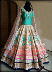 Breathtaking Turquoise multy Work Anarkali Lehenga Choli