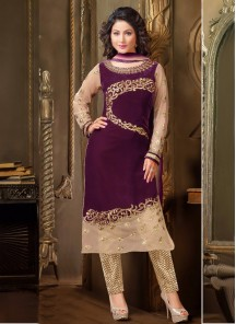 Breathtaking Violet  Churidar Suit