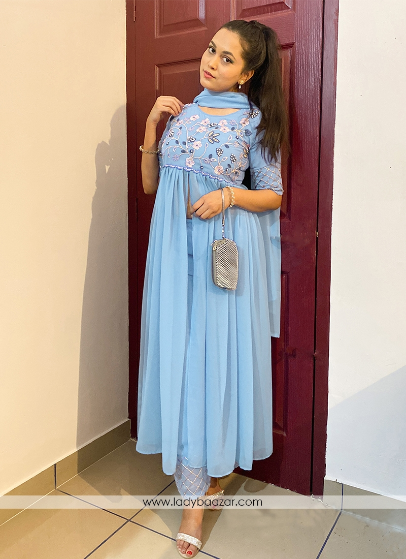 Breathtaking Watery Blue Colored Partywear Embroidered Georgette Top-Bottom Set