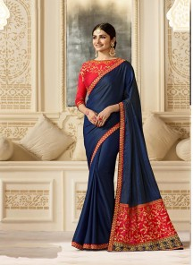 Brilliant Silk Navy Blue Trendy Embroidery  Saree