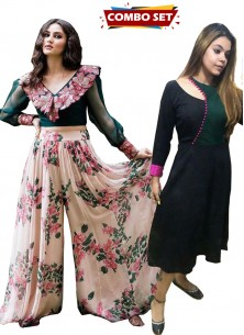Buy 1 Get 1 Free Silk Kurti Combo Set-Adorable Designer Wear Digital Printed Plazzo Along With Unique Embroidered Blouse