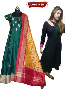 Buy 1 Get 1 Free Silk Kurti Combo Set- Adorable Mirror Embroidered Anarkali Gown With Silk Dupatta