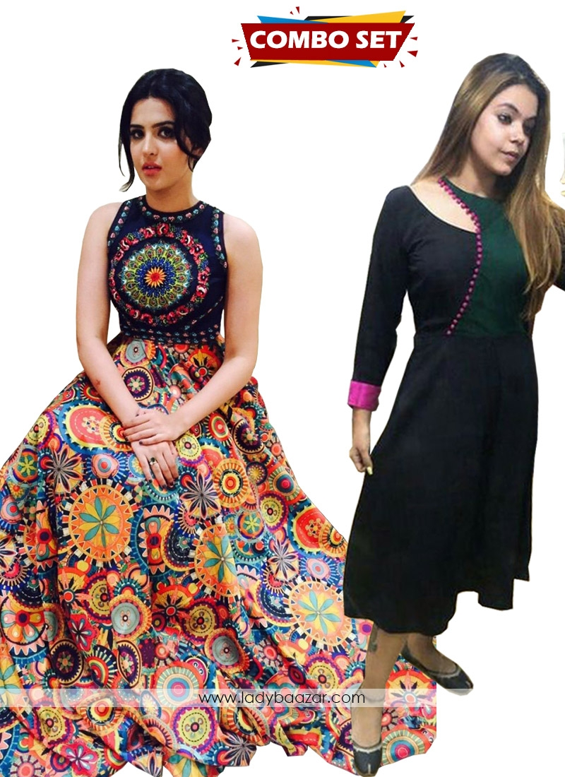 Buy 1 Get 1 Free Silk Kurti Combo Set-Beautiful Designer Wear Digital Printed Floor Length Semi-Stitched Lahenga Choli