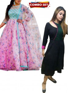 Buy 1 Get 1 Free Silk Kurti Combo Set-Digital Printed Designer Wear Embroidered Long Tussar Silk Gown Along With Printed Dupatta