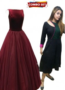Buy 1 Get 1 Free Silk Kurti Combo Set-Elegant Low Back Burgundy Sleeveless Net And Velvet Military Ball Gowns