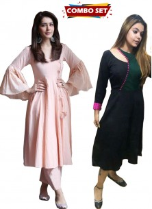 Buy 1 Get 1 Free Silk Kurti Combo Set- Eye-Catchy Cotton Peach Party Wear Stitched Kurti With Stitched Dhoti Style Pant