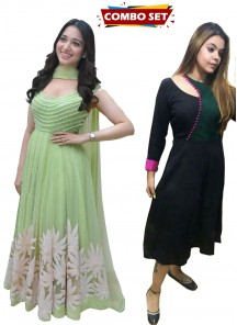 Buy 1 Get 1 Free Silk Kurti Combo Set-Gorgeous Light Green Thread Embroidered Ready-Made Pleated Gown