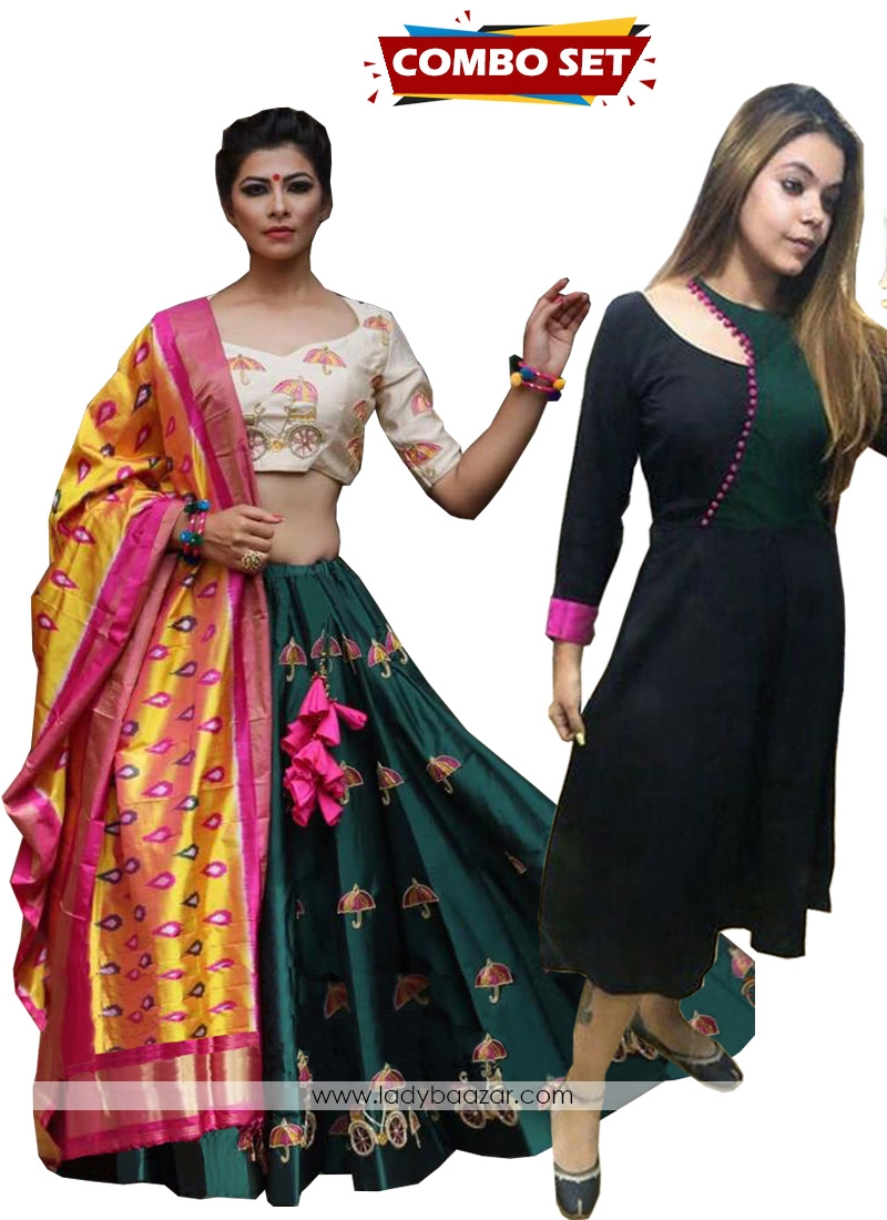 Buy 1 Get 1 Free Silk Kurti Combo Set-Green Embroidered Work Satin Silk Designer Lehenga Choli With Silk Dupatta