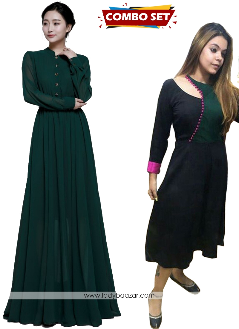 Buy 1 Get 1 Free Silk Kurti Combo Set-Marvelous Dark Green Faux Chiffon Floor Length Long Gown