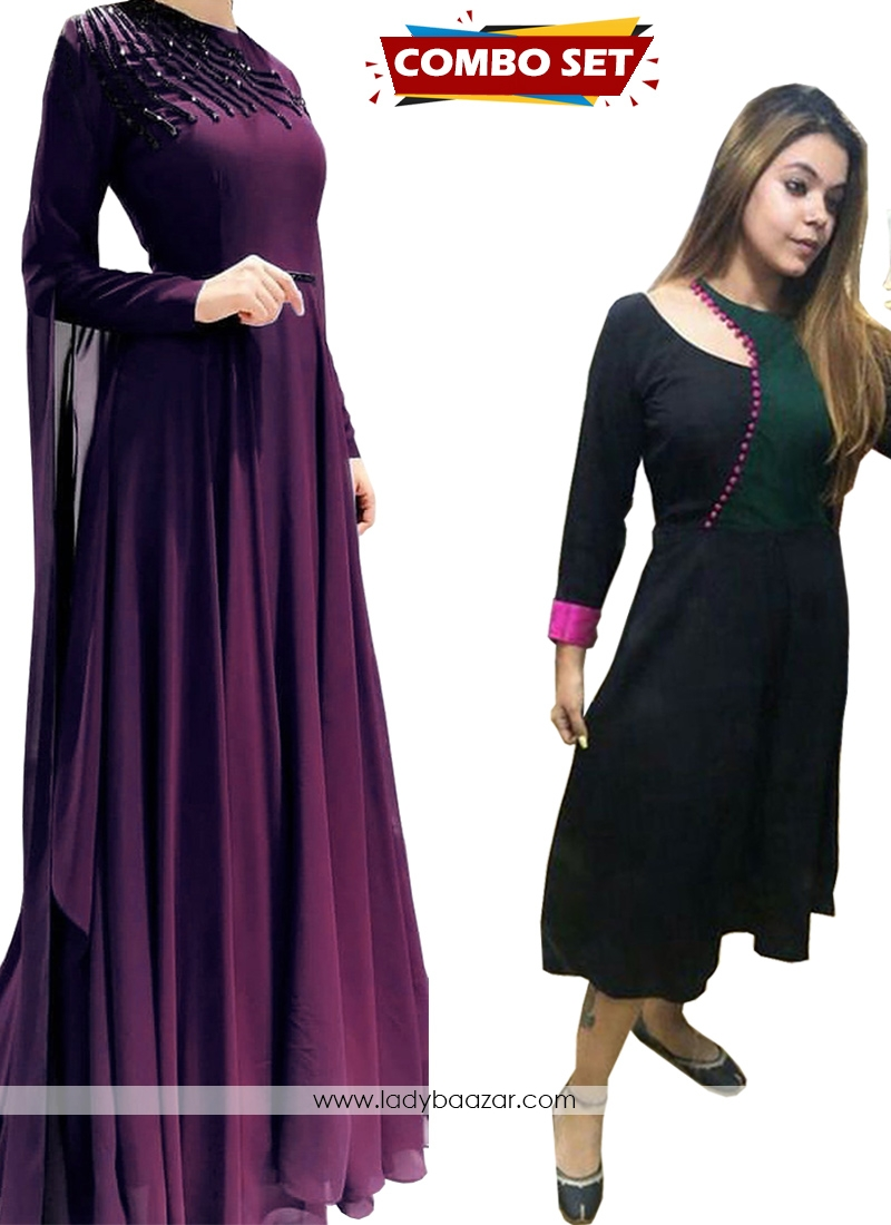Buy 1 Get 1 Free Silk Kurti Combo Set-Pure Handwork Faux Georgette Floor Length 10 Meter Flared Designer Gown