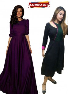 Buy 1 Get 1 Free Silk Kurti Combo Set - Striking Purple Tapeta Silk Floor Length Dress With Belt