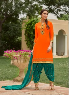 Capricious  Orange With Green Cotton Embroidery Work Patiyala Suit